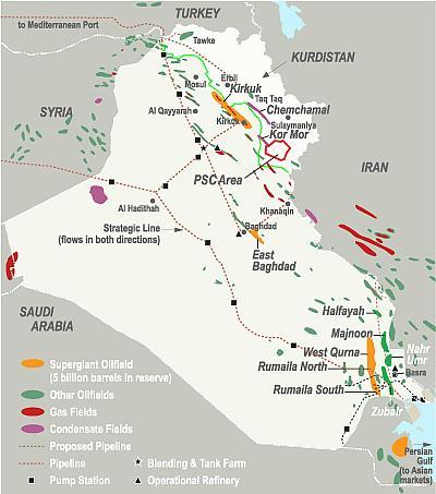 Pola naftowe w Iraku (źródło: energy-pedia)