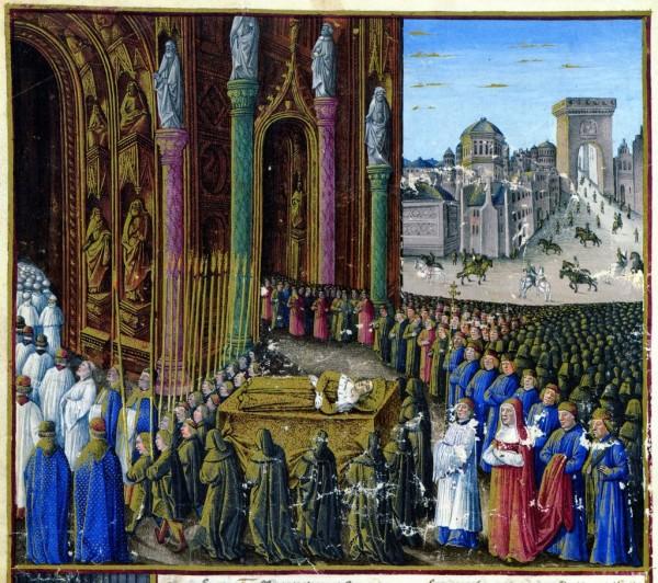 Pogrzeb Baldwina II (aut. Sebastien Mamerot, ok. 1475 r., domena publiczna).