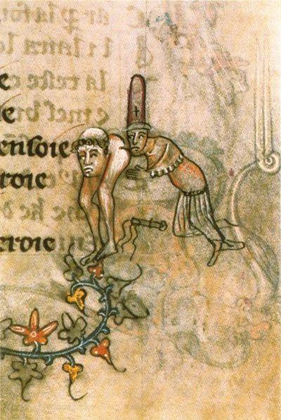 Templariusz całujący duchownego (ok. 1350 r., domena publiczna).