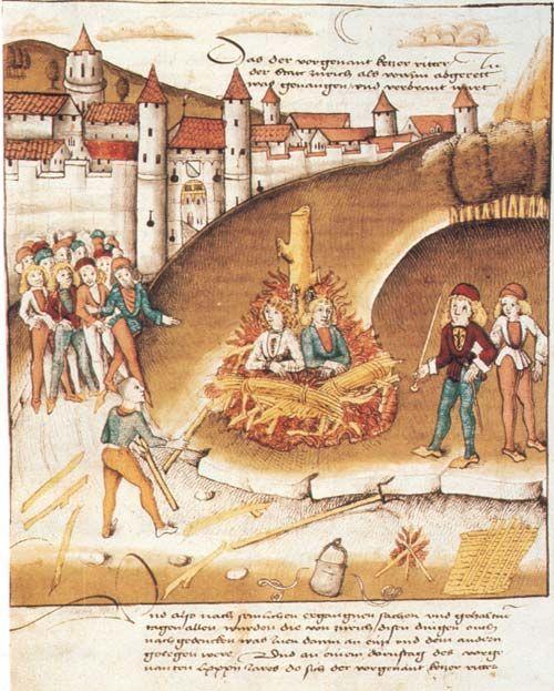 Spalenie rycerza z Hohenbergu i jego sługi za sodomię po murami Zurichu w 1482 r. (domena publiczna).