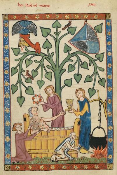 Ilustracja z Codex Manesse (między 1305 a 1315, domena publiczna).