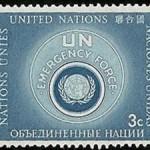 Znaczek pocztowy wydany przez ONZ upamiętniający UNEF (domena publiczna)