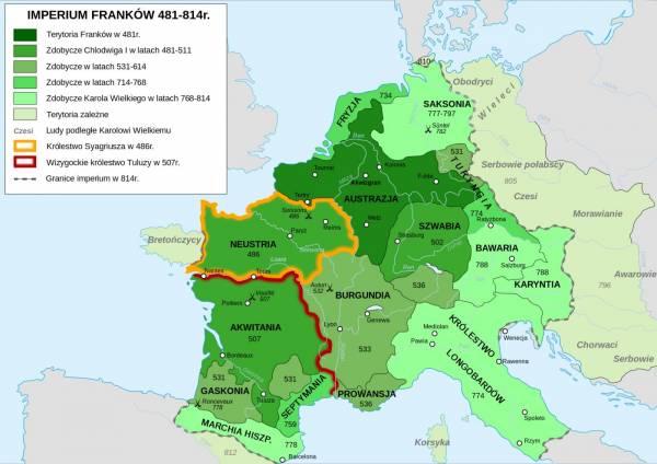 Rozwój terytorialny państwa Franków do śmierci Karola Wielkiego (aut. GFDL, opublikowano na licencji Creative Commons Uznanie autorstwa–na tych samych warunkach 3.0 niezlokalizowana).