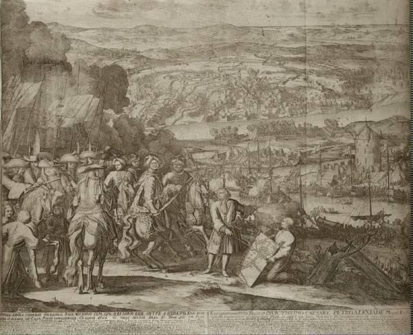 Zdobycie Azowa (aut. Adriaan van Schoonebeek, 1699 r., domena publiczna).