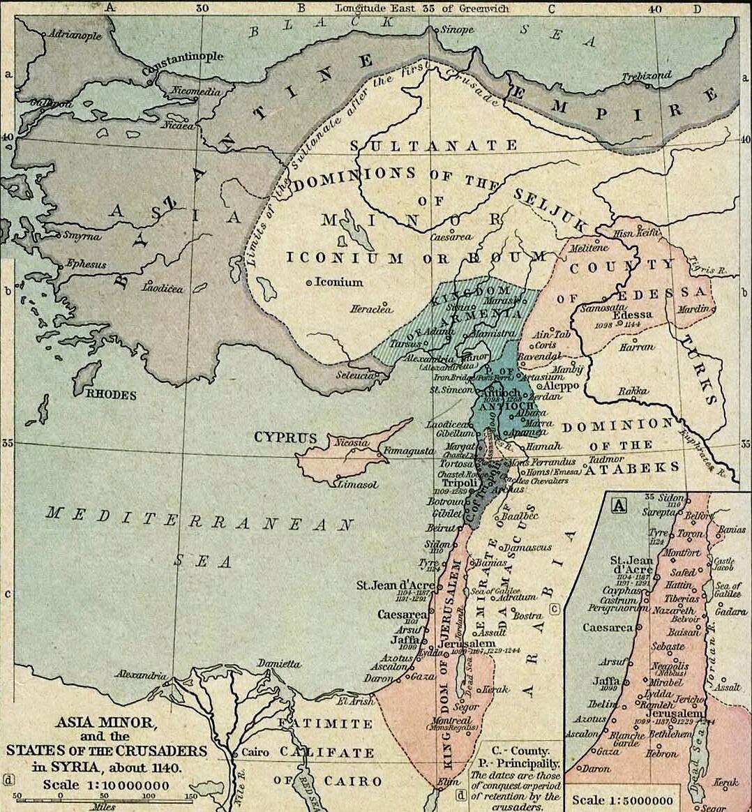 Azja Mniejsza i państwa krzyżowców w Sytii ok. 1140 (źródło: Alexander G. Findlay, Classical Atlas of Ancient Geography)