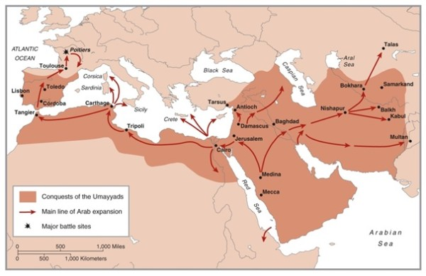 Arabskie podboje i główne kierunki ofensyw arabskich: URL:http://historum.com/middle-eastern-african-history/45861-conversion-oghuz-turks-islam-20.html.